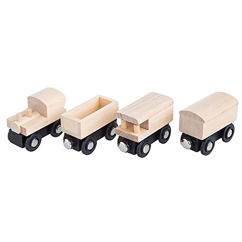 Cool Toy Train Cars : Orbrium toys unpainted wooden train cars compatible with