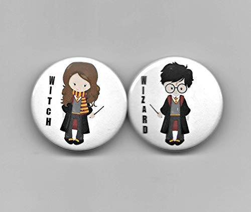 (Wizard Witch Boy Girl Gender Reveal,Baby Shower Party Favor, Pin Back Buttons, Round, Pinback, 1-1/2