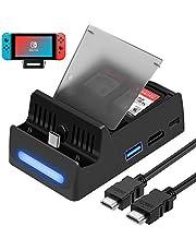 HEYSTOP Base de Carga para Nintendo Switch con Cable HDMI (Green)