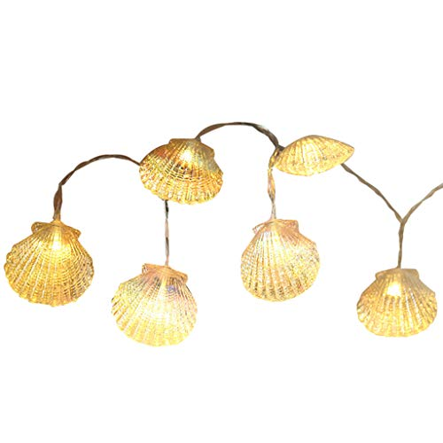 ❤Lemoning❤ 1.5m 10 Lamp Seahorse Shell Marine Battery String Lamp Home Decoration Lamp (A)