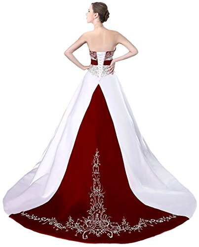 Faironly D229 Women's Wedding Dress Bridal Gown (XX-Large, White Red)