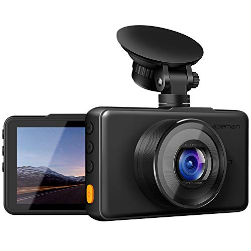 APEMAN Dash Cam 1080P FHD DVR Car Driving Recorder 3″ LCD Screen 170°Wide Angle, G-Sensor, WDR, Parking Monitor, Loop Recording, Motion Detection
