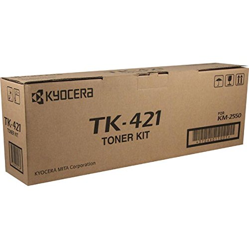 (Kyocera 370AR011 Model TK-421 Black Toner Kit For use with Kyocera KM-2550 and CS-2550 Copy Machines, Up to 15000 Pages Yield at 5% Average Coverage, Includes 2 Waste Toner Containers and Grid Cleaner)