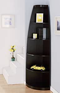 ioHOMES Brook 5-Shelf Leveled Corner Display Stand/Bookcase, Cappuccino