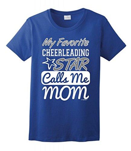 My Favorite Cheerleading Star Calls Me Mom Ladies T-Shirt XL Royal