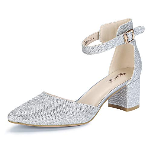 IDIFU Women's IN2 Pedazo Dress Shoes Low Block Heels Comfortable Chunky Closed Toe Ankle Strap Wedding Pumps (Silver Glitter, 9.5 B(M) US)