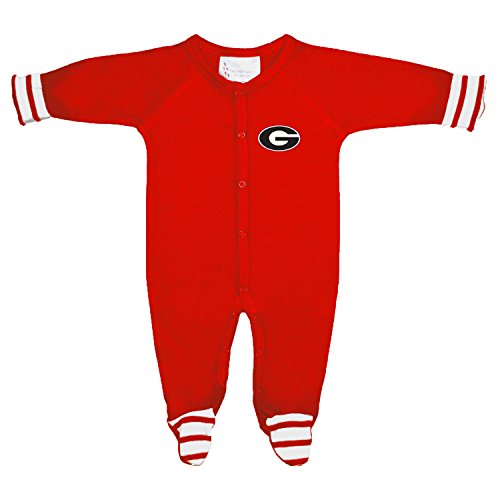 Two Feet Ahead Georgia Bulldogs NCAA Newborn Baby Long Sleeve Colored Footed Romper (6 Months)