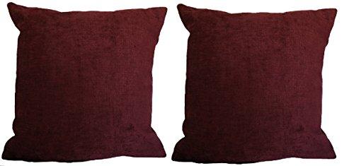 """Set of 2; Textured Linen Weave Chenille Deep Cabernet, 18""""x1"""
