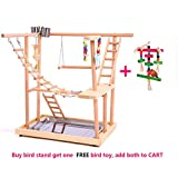 QBLEEV Wood Parrot Playground Perches with Swing,Chewing Climbing Toys, Bird Training Play Stands for Parakeets African Grey Conures Cockatiel Cockatoos to Exercise(18.7'' L12.8 W20.87 H)