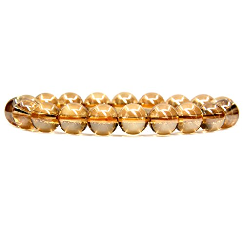 Amandastone Natural Aqua Golden Clear Quartz Genuine Semi-Precious Gemstones Healing 10mm Beaded Stretch Bracelet 7