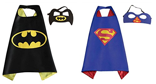 [2 Capes, and 2 Masks Superman & Batman Costumes In Gift Box from Outlander] (Baseball Bat Man Costume)