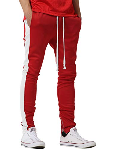 (Mens Track Pants Two Tone (Large, 1vw19_red/White))