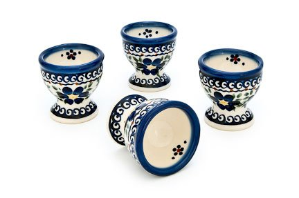 Blue Rose Polish Pottery Spring Blossom 4 PC Egg Cup Set