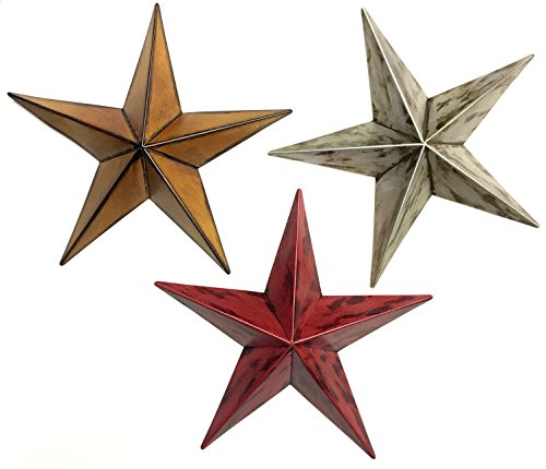 Bellaa 22052 Star Metal Wall Decor Patio Garden Indoor Outdoor Celetic (Multi, 12″ inches Each)