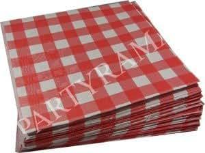 25 Manteles de Papel a Cuadros Rojo y Blanco 90cm x 90cm