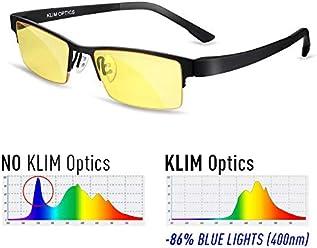 KLIM Optics Lunette Anti Lumiere Bleue - Protège vos Yeux de la Lumière Bleue - Haute Protection pour Écrans - Lunettes Gaming PC Mobile TV - Filtre Anti Fatigue Anti UV Anti Lumière Bleue