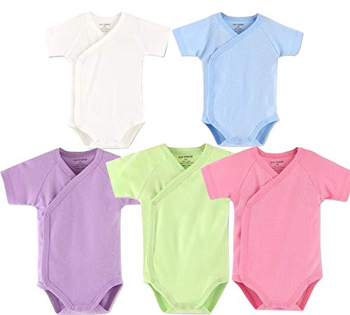 Baby Boys Girls Short Sleeves Kimono Onsies Cotton Baby Side-snap Bodysuit Pack of Cardigan Onsies for Infants (Newborn, 5 of ()