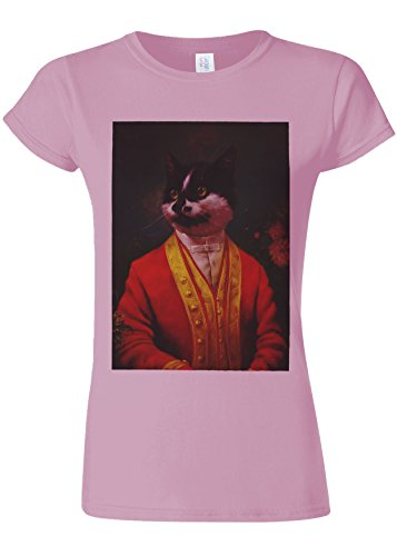 仮称時間小切手Victorian Gentleman Cat Kittem Meow Novelty Light Pink Women T Shirt Top-L