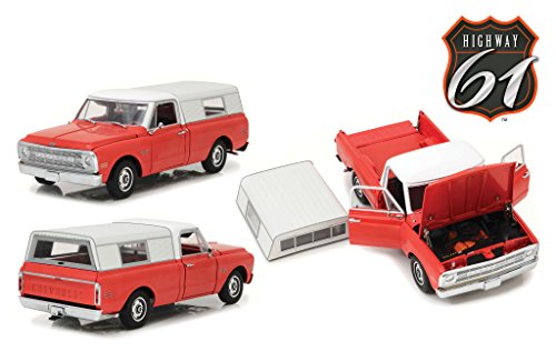 (1970 Chevrolet C-10 Red with Removable Camper Shell Limited Edition 1/18 Diecast Car Model by Highway 61 18004)