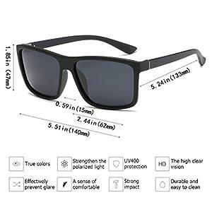 Polarized Sunglasses for Men Driving Mens Sunglasses Rectangular Vintage Sun Glasses For Men/Women Matte Black