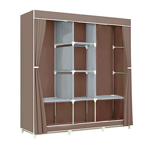 GREENBELT Portable Clothes Closet Non-Woven Fabric Wardrobe Double Rod Storage Organizer 45.5 x 17 x 65 inches - Brown