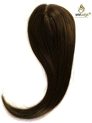 Uniwigs Remy Human Hair Mono Hairpiece, Closure, Hand Made Tied Hair Topper, Straight 16 Inches for Hair Loss (G-2) Dark Brown by uniwigs