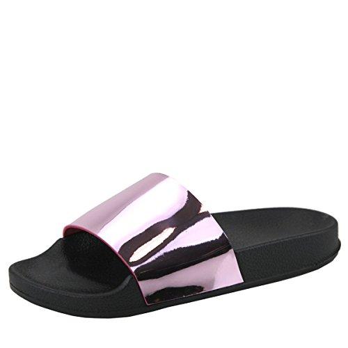 Bella Marie Womens Open Toe Metallic Slide Flip Flop Slip On Low Flat Sandal Slipper Pink odMd5jdK9