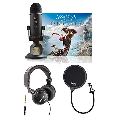 Price comparison product image Blue Microphones Yeti Mic (Blackout) with Assassin039;s Creed Odyssey (Game),  Studio Headphones & Knox Gear Pop Filter