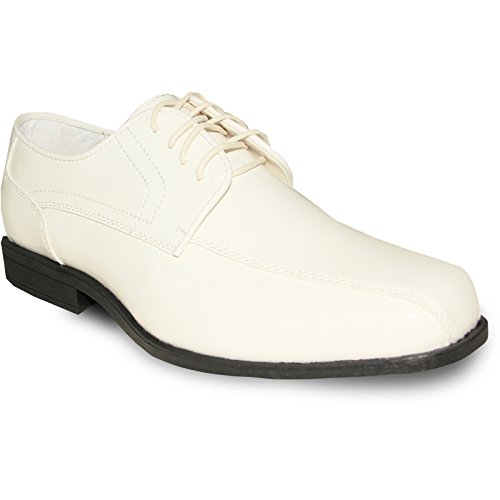 JEAN YVES Dress Shoe JY02 Double Runner Tuxedo for Wedding, Prom and Formal Event Ivory Patent 14W
