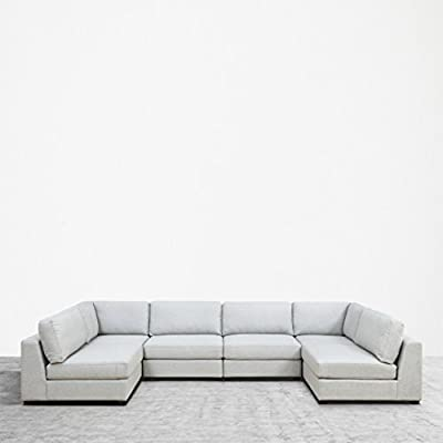 UrbanFurnishing.net Reed 6-Piece Modular Customizable and Reconfigurable Deep Seating Sofa Sectional - Sophisticated modern low-profile design with plush casual comfort. Inspired by DWR's Reid Collection, but with thousands in savings! Oversized modules, extra wide and extra deep providing generous space to move around Upholstered with a designer Light Gray Modern Felt fabric. Multi-layer premium foam for long lasting comfort and anti-sag design contruction - sofas-couches, living-room-furniture, living-room - 41DNs2lEIhL. SS400  -