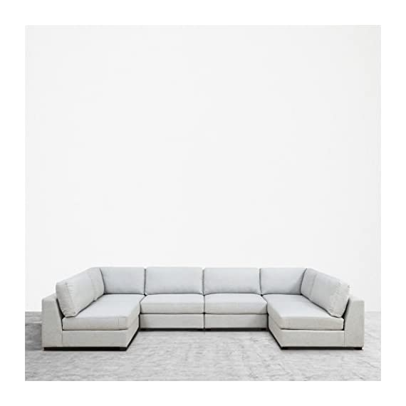 UrbanFurnishing.net Reed 6-Piece Modular Customizable and Reconfigurable Deep Seating Sofa Sectional - Sophisticated modern low-profile design with plush casual comfort. Inspired by DWR's Reid Collection, but with thousands in savings! Oversized modules, extra wide and extra deep providing generous space to move around Upholstered with a designer Light Gray Modern Felt fabric. Multi-layer premium foam for long lasting comfort and anti-sag design contruction - sofas-couches, living-room-furniture, living-room - 41DNs2lEIhL. SS570  -