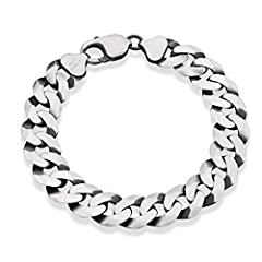 Miabella brings you the finest in modern and classic design. Make a cool statement with this solid and bold 925 sterling silver 12mm wide Cuban Curb bracelet. Like no other Curb chain in the market, our special diamond-cut offers a much more ...