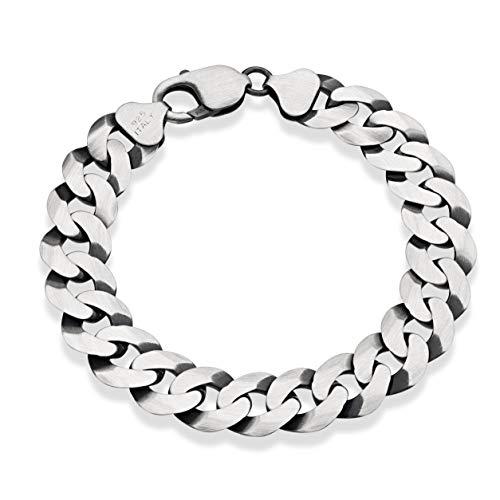 MiaBella 925 Sterling Silver Italian 12mm Solid Diamond-Cut Cuban Link Curb Chain Bracelet, 8