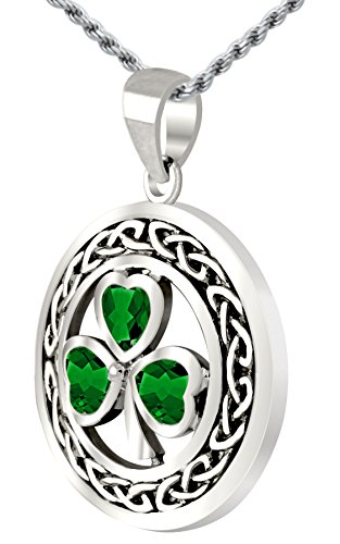 0.925 Sterling Silver Simulated Emerald Irish Shamrock Clover Pendant, 3.3mm Rope Necklace, 24