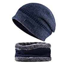 MJ-Young Men Beanie Hat Scarf Set Winter Warm Knit Hat and Infinity Scarf Gift