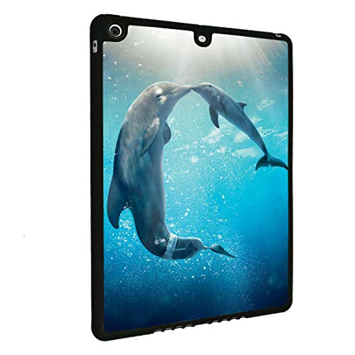 iPad Air Case,iPad 5th Case,BOSLIVE Kiss Dolphin Background Design TPU Slim Anti-Scratch Protective Cover Case for Apple iPad 9.7 Inch 5th 2017 ()