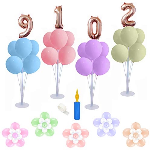 4 Sets of Balloon Table Stand Kit (7 Sticks 7 Cups 1 Base), Reusable Clear Balloon Centerpiece Stand Table Desktop Holder with 1 Pump for Birthday Wedding Party Festival Event Decorations
