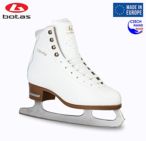 Botas - Model: Cindy/Made in Europe (Czech Republic) / Figure Ice Skates for Women, Girls/Leather / Str. Cuff/White, Size: Adult 5.5