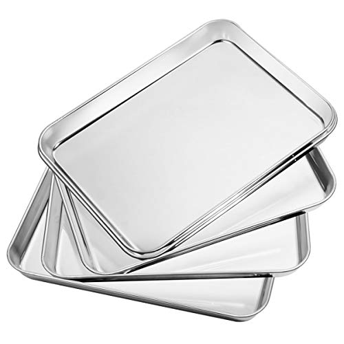 Bastwe Baking Sheet 5 Piece, Stainless Steel Baking Pan Set of 5, Toaster Oven Bakeware, Rectangle Size 10 x 8 x 1 inch, Non Toxic & Healthy, Superior Mirror & Rust Free, Easy Clean & Dishwasher Safe
