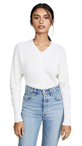 TSE Cashmere Women's Braided Rib Dolman Sweater, Crème, Off White, Large