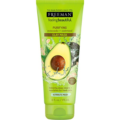 Freeman Feeling Beautiful Facial Clay Masque Avocado & Oatmeal 6 oz ( Pack of 2) by Freeman
