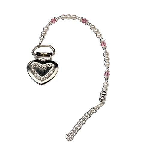 (Sterling Silver Heart Binky or Pacifier Clip with Pink Sparkling Crystals (Clip is Base Metal))