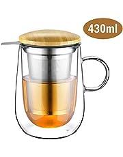Glastal 430ml Taza de té de vidrio de doble pared con colador de metal Taza de té de vidrio Taza de vidrio de borosilicato