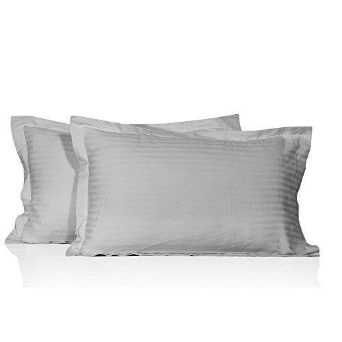 Whitecottonworld Luxurious, Soft and Hypoallergenic 800 Thread Count 2-Piece Pillow Shams Single-Ply Egyptian Cotton, Durable (Super King Pillow Sham 20x36, Silver Grey Striped)