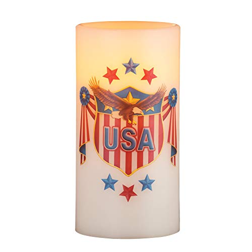 Patriotic Eagle with Shield Flameless LED Candle, Realistic Flickering Glow - Holiday Décor for Any Room in Home