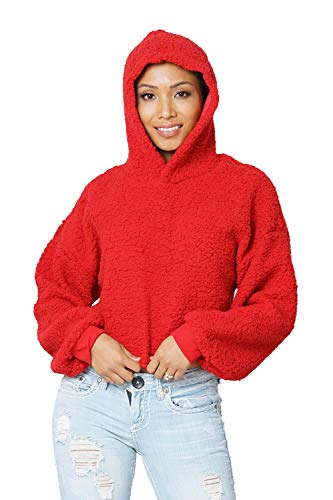 Carprinass Womens Winter Pullover Hoodie Loose Thick Warm Lamb Sweatshirts Red S -