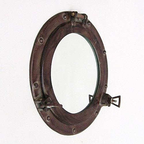 Ship'S Cabin Porthole Mirror 11.5'' Aluminum Antiqued Brown Finish by Nautical Home Decoration