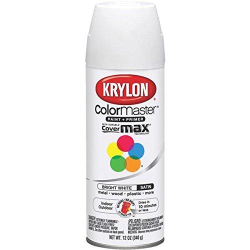 Krylon K05351707 ColorMaster Paint + Primer, Satin, Bright White, 12 oz. ()