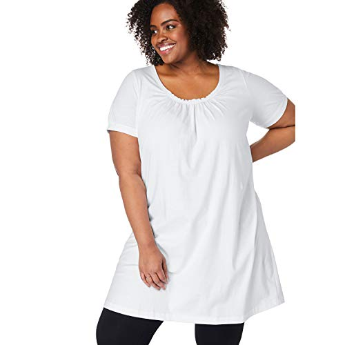 - Woman Within Women's Plus Size Perfect Shirred U-Neck Tunic - White, L