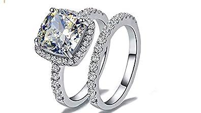 Nj Top Grade Supreme Princess Cushion Cut 2 0 Carats Diamond Ring Band 2 Pcs Set 925 Sterling Silver White Fire Sparkles Swarovski Cubic Zirconia